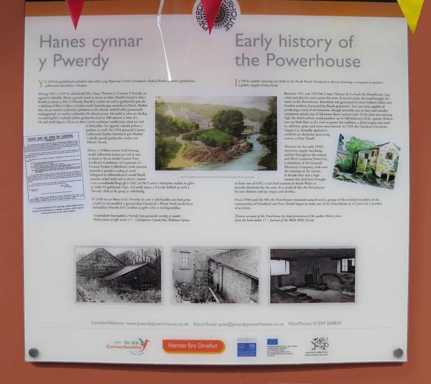 Powerhouse Llandysul plaque history