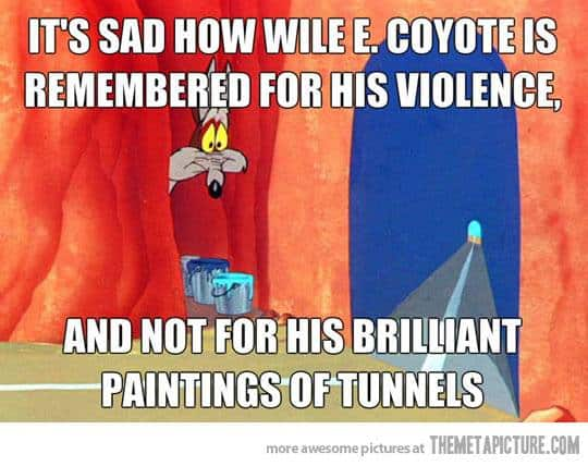 Wile E. Coyote painting tunnels cartoon