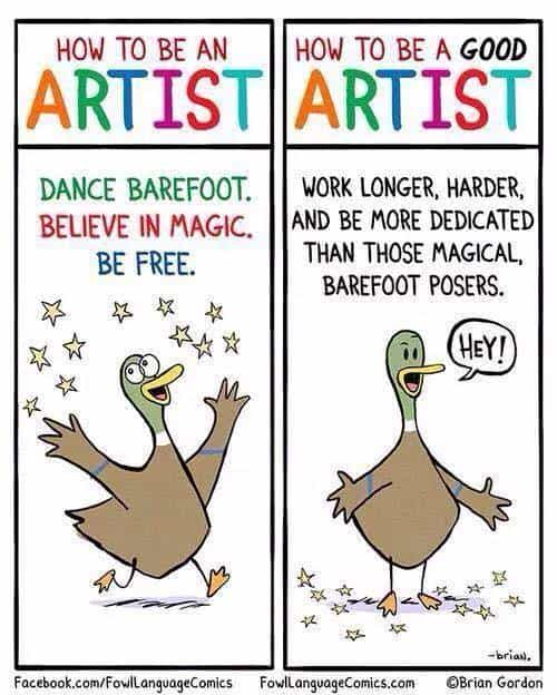 how to be an artist duck cartoon