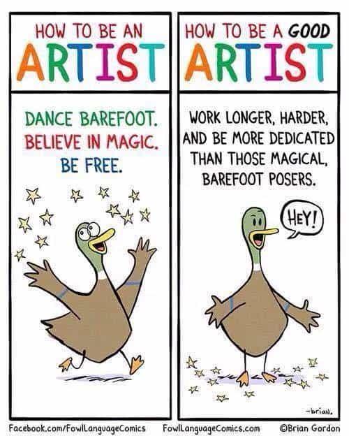 how to be an artist duck cartoon