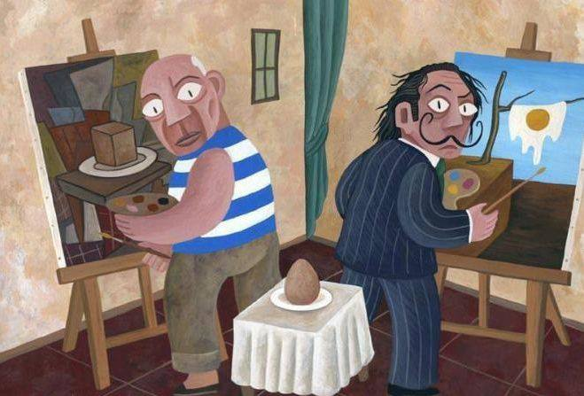 Picasso and Dali paint an egg differently