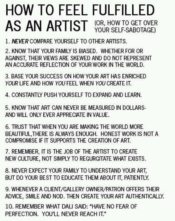 how to be fulfilled as an artist list