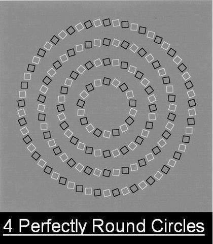 four perfectly round circles optical illusion