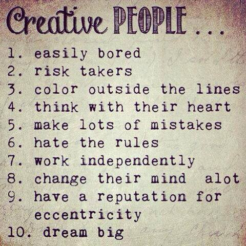 creative people list of qualities