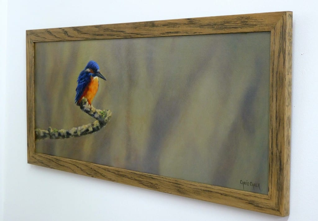 framed kingfisher painting in oils