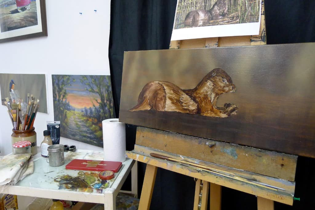 otter painting in oils