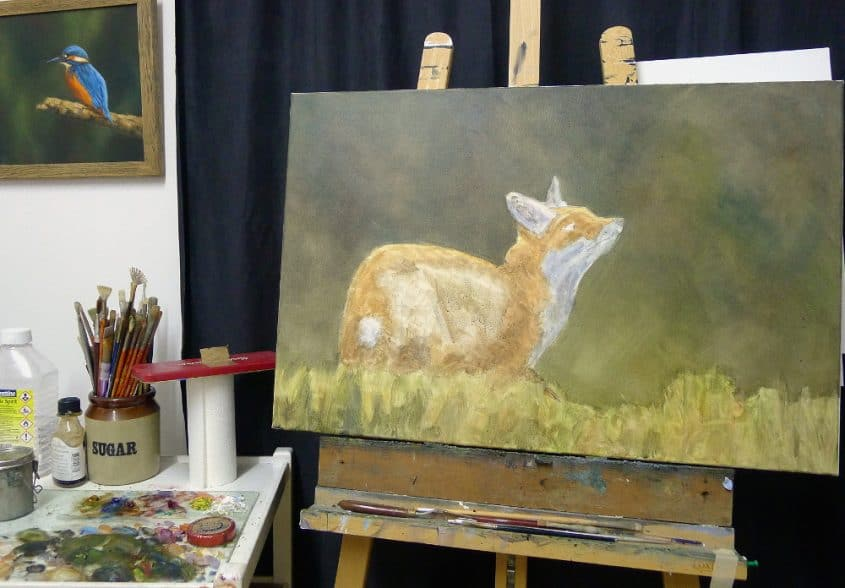 fox painting work in progress 1