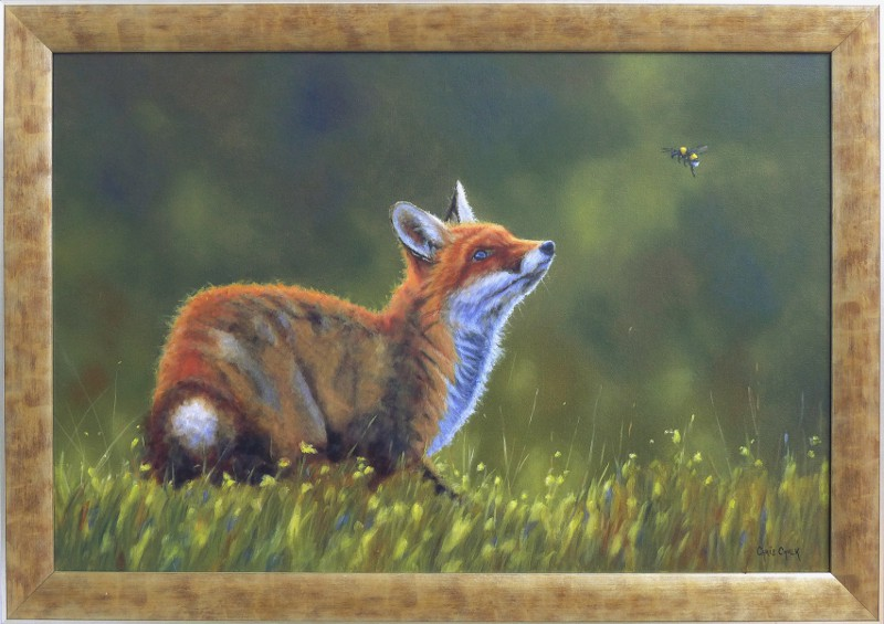 fox painting framed