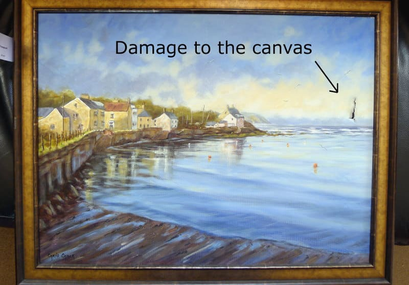 how to repair a damaged canvas painting