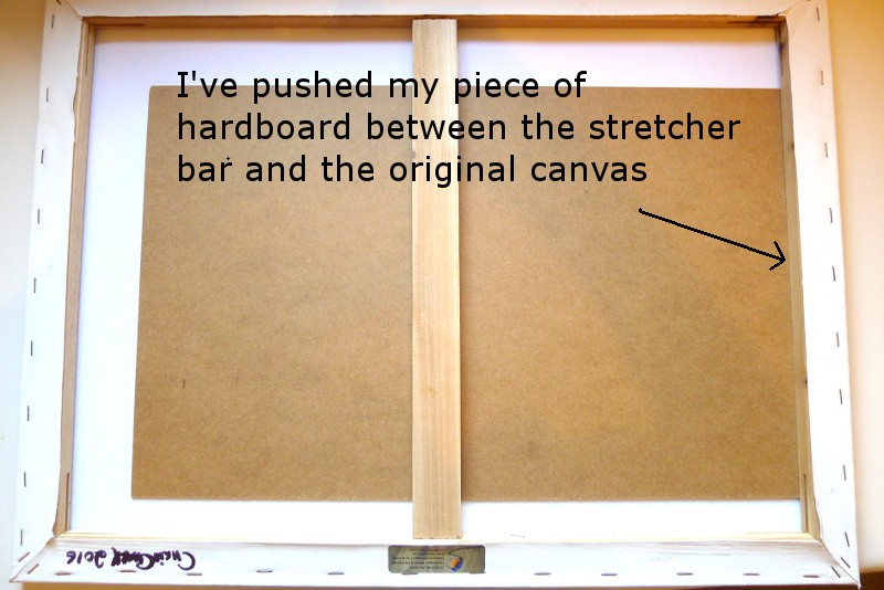 gluing a damaged canvas painting