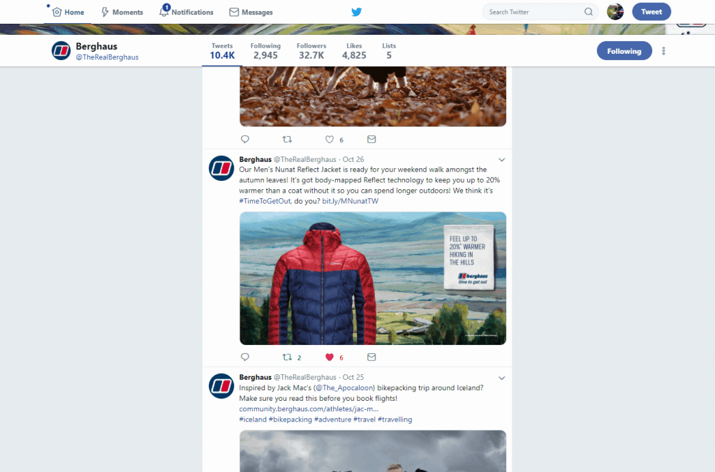 Berghaus on Twitter
