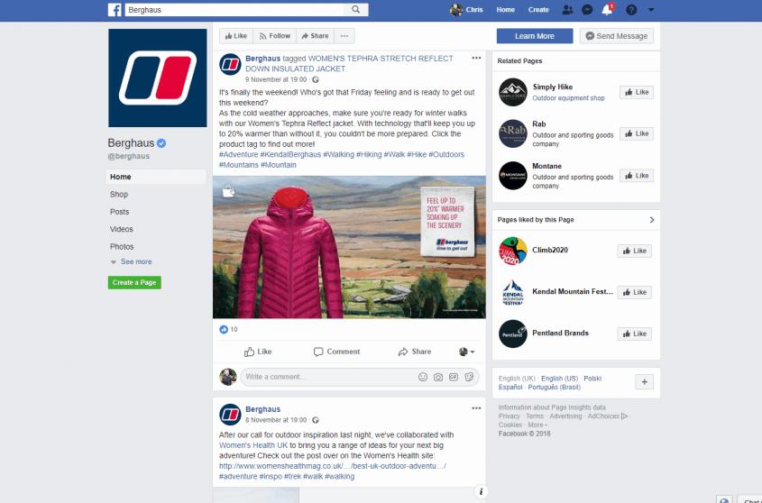 Berghaus on Facebook