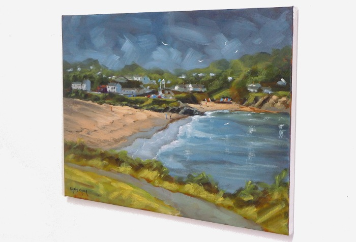 aberporth beach painting close up