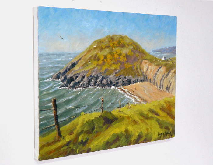 painting of Mwnt beach hanging on the wall