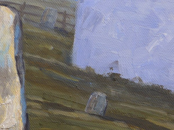 Mwnt Church painting close up one