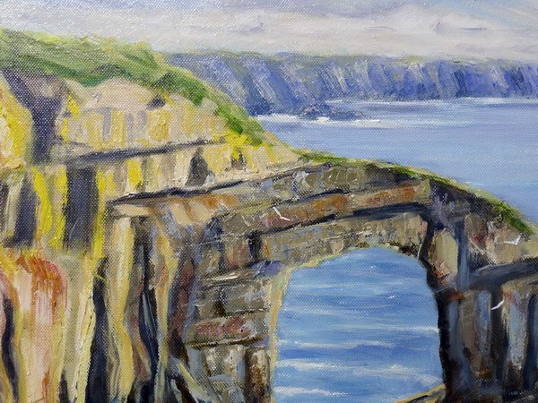green bridge wales painting close up one