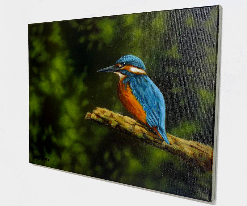 framed kingfisher painting