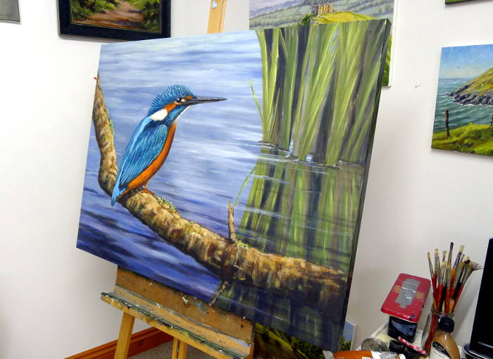 Kingfisher painting in the studio