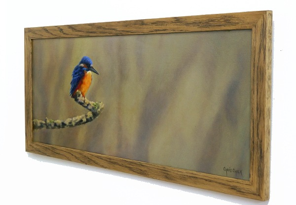 Kingfisher painting framed and hanging on the wall