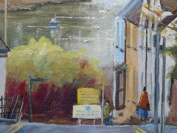 Cardigan quay street painting close up one