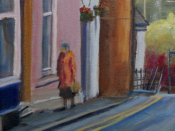 Cardigan quay street painting close up two
