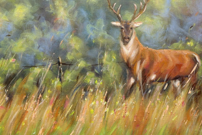 Red Deer Painting close up