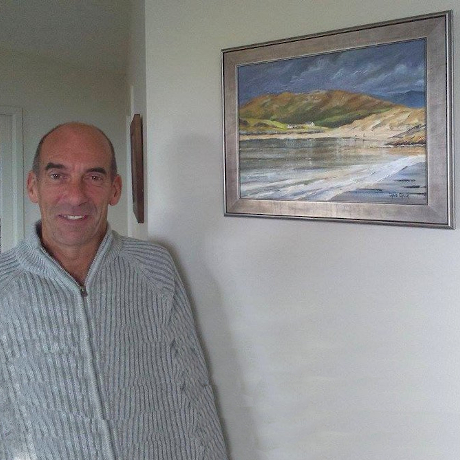 Client with their framed Scottish painting