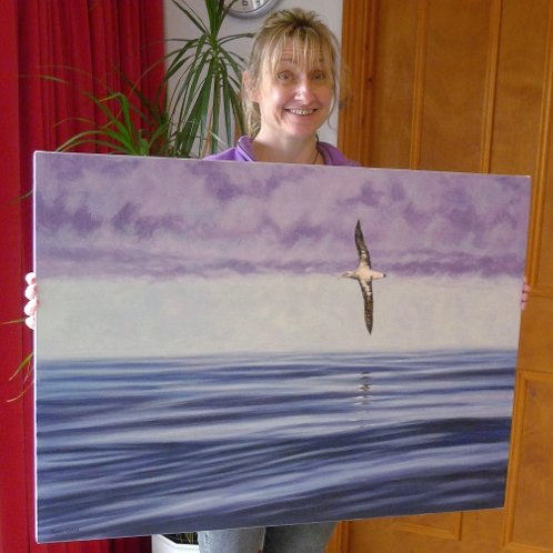 Happy client with their Albatross painting