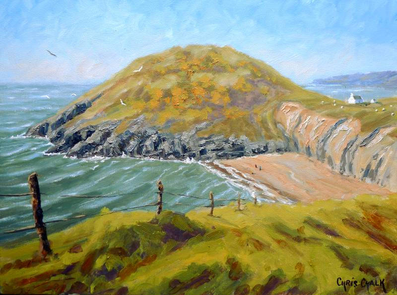 oil painting of Mwnt beach in west Wales