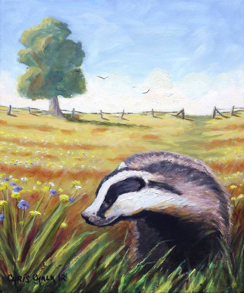 oil painting of a badger in a field
