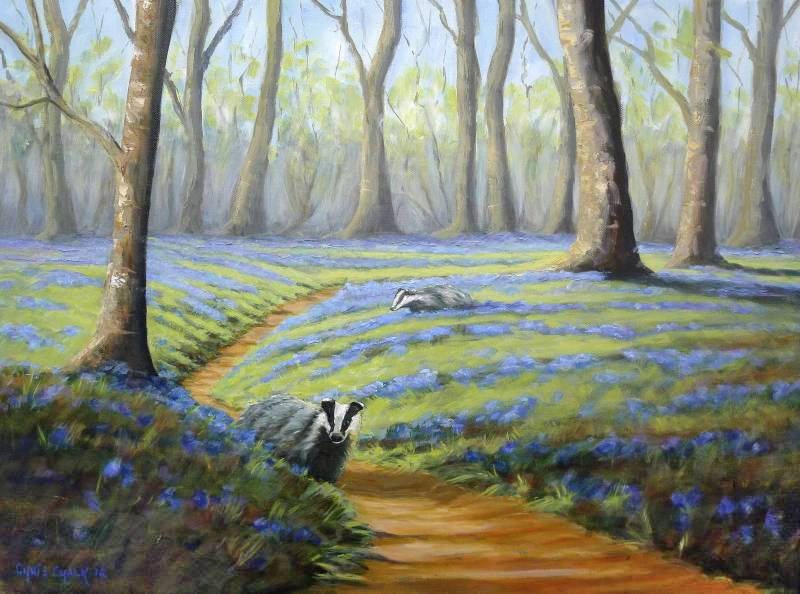 oil painting of two badgers in a woodland full of bluebells