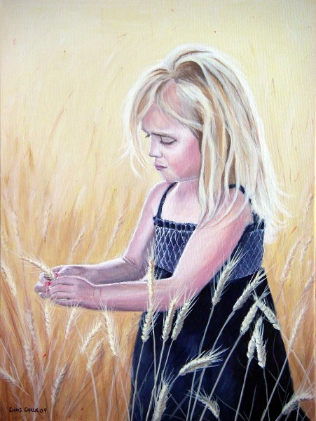 oil painting of a blond girl walking through a field of barley