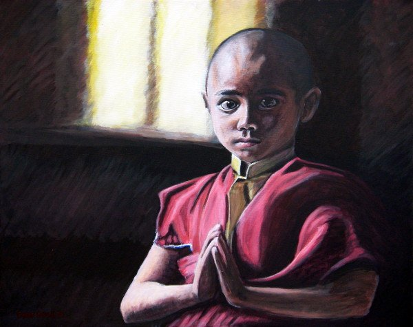 oil painting of a young tibetan monk