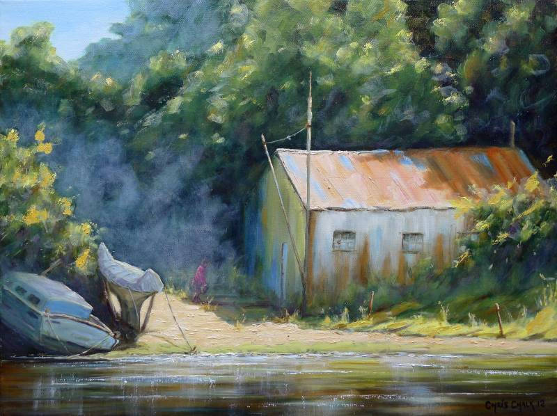 Old Boat House Painting