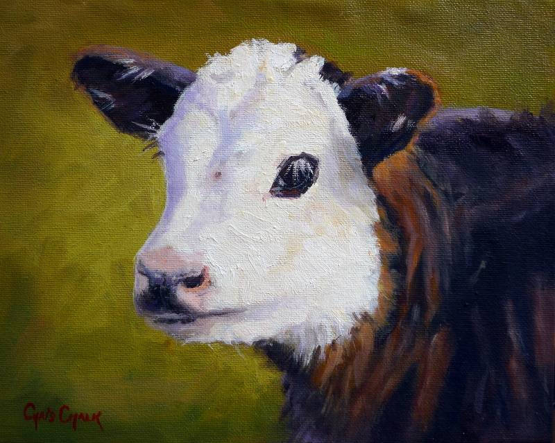 oil painting of a young hereford calf
