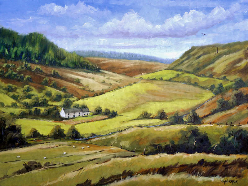 Remote Farmhouse, Cambrian Mountains, Mid Wales Painting