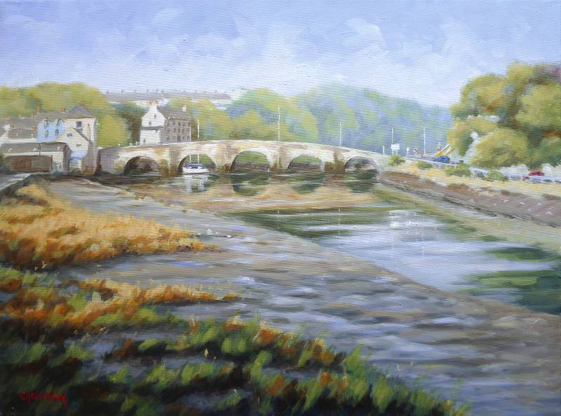 River Teifi at Cardigan Bridge Painting