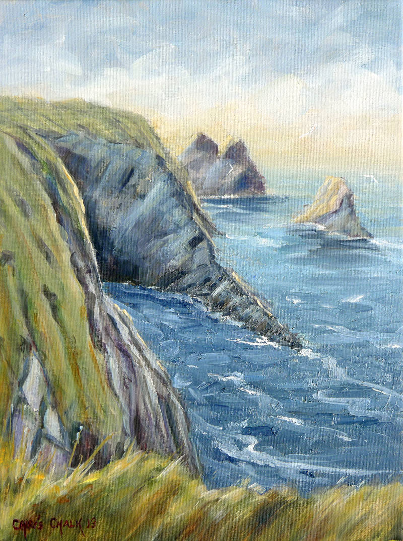 Landscape painting of Ceibwr Bay