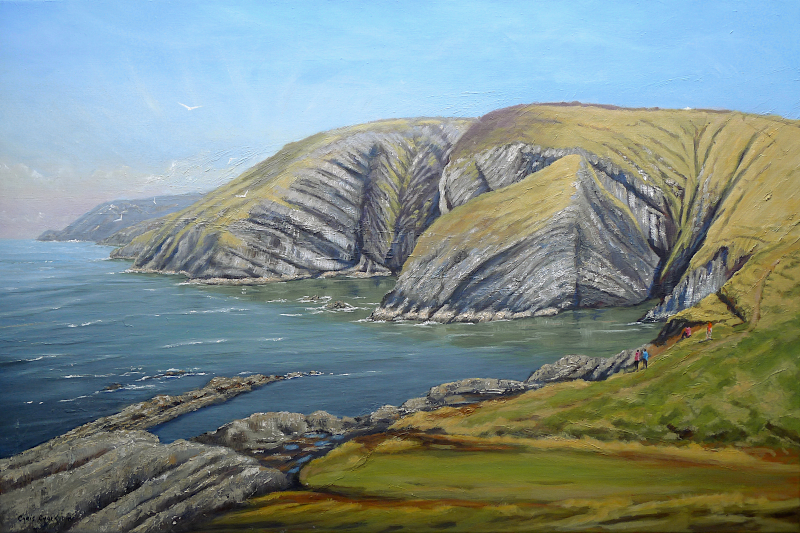 Oil paintig of Ceibwr Bay in west Wales