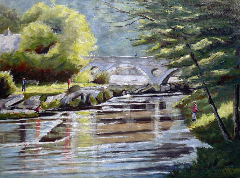 Painting of Cenarth Bridge in Ceredigion