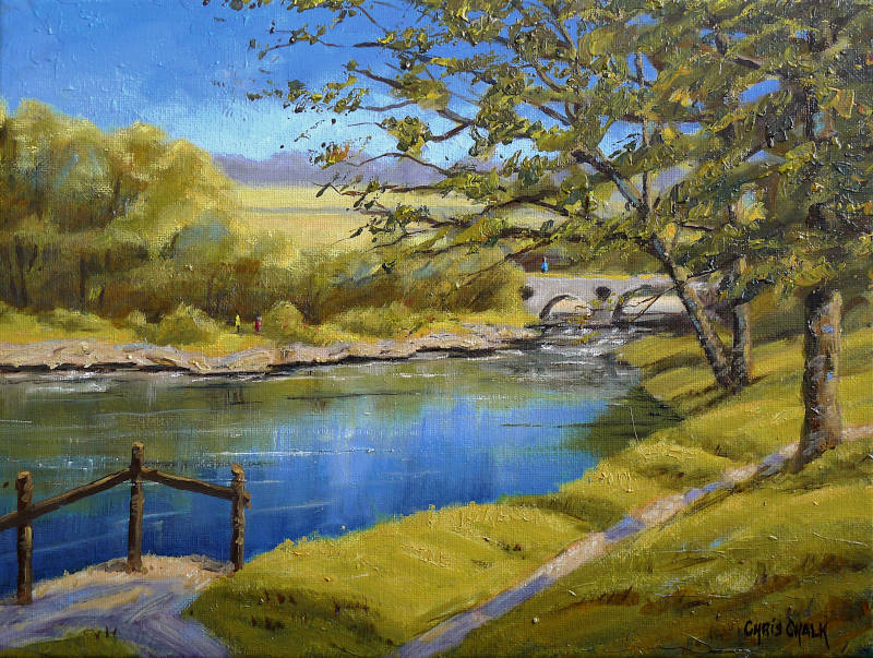 Painting of the River Teifi at Cenarth