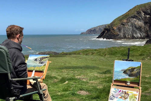 Oil painting using a pochade box in Wales