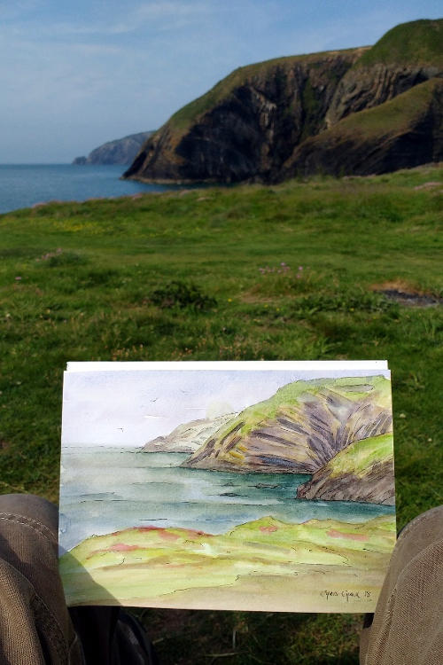 Watercolour painting of Ceibwr Bay in Pembrokeshire