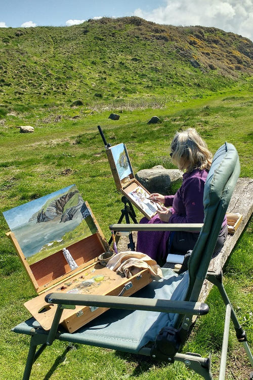 Ceibwr Bay painting with artist Diane Mathias