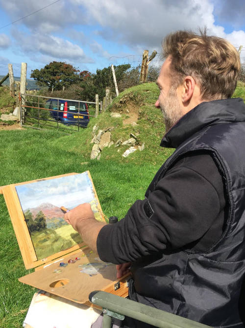 Painting in the Preseli mountains of Wales