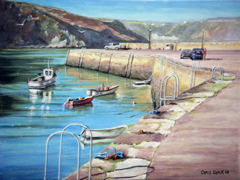 Painting of Fishguard fishermen working on their fishing boats