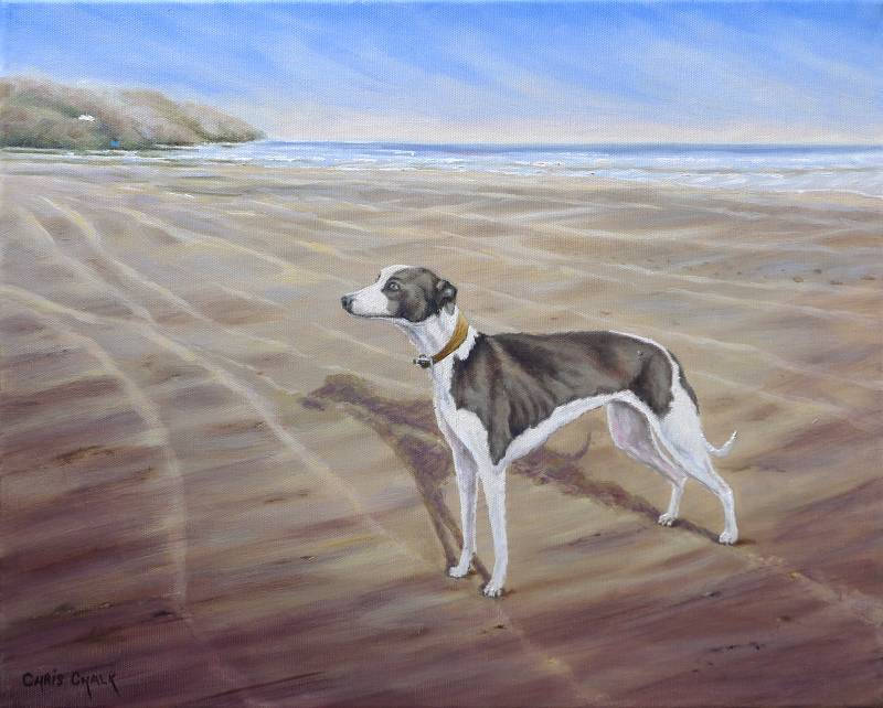 Oil painting of a Whippet