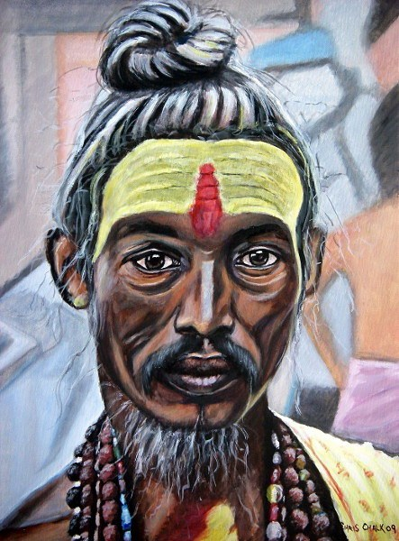 oil painting of a old Indian holy man sadhu