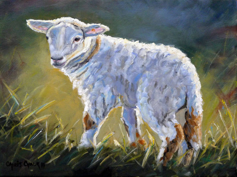 oil painting of a lamb in warm sunshine