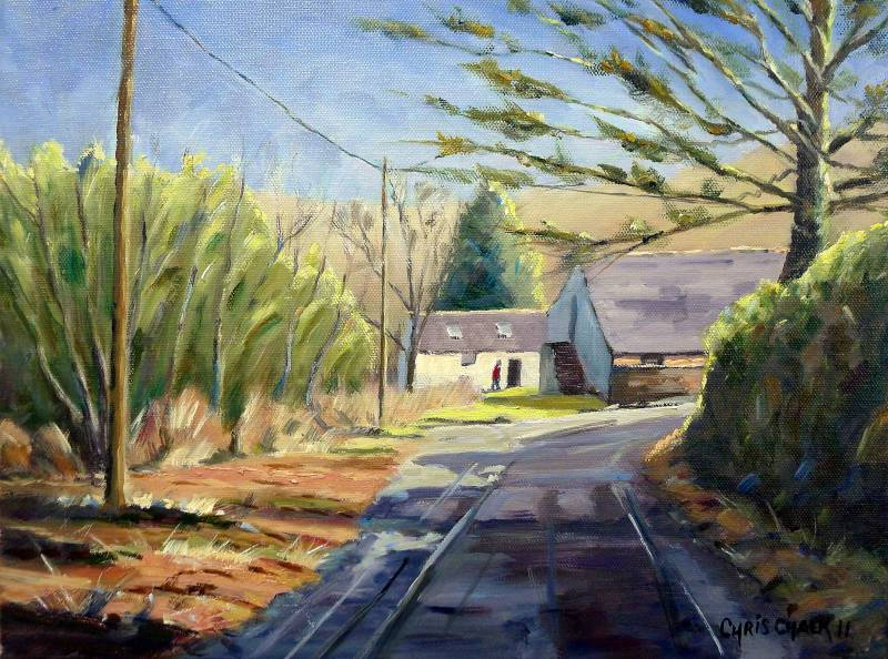 A painting of a sunlit welsh farm in Pembrokeshire